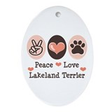 Peace Love Lakeland Terrier Oval Ornament