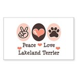 Peace Love Lakeland Terrier Rectangle Sticker
