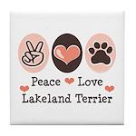 Peace Love Lakeland Terrier Tile Coaster