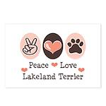 Peace Love Lakeland Terrier Postcards (Package of