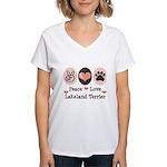 Peace Love Lakeland Terrier Women's V-Neck T-Shirt