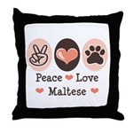 Peace Love Maltese Throw Pillow