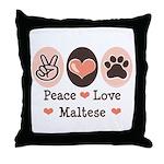Peace Love Maltese Throw Pillow