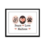 Peace Love Maltese Framed Panel Print