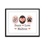 Peace Love Maltese Framed Panel Print
