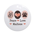 Peace Love Maltese Ornament (Round)