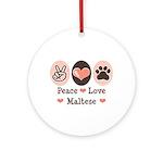 Peace Love Maltese Ornament (Round)