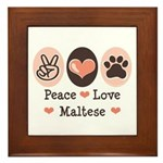 Peace Love Maltese Framed Tile