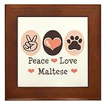 Peace Love Maltese Framed Tile