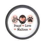 Peace Love Maltese Wall Clock