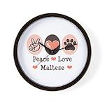 Peace Love Maltese Wall Clock