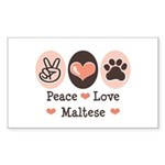 Peace Love Maltese Rectangle Sticker