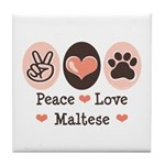 Peace Love Maltese Tile Coaster