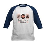 Peace Love Maltese Kids Baseball Jersey