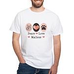 Peace Love Maltese White T-Shirt