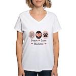 Peace Love Maltese Women's V-Neck T-Shirt