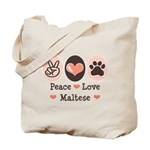 Peace Love Maltese Tote Bag