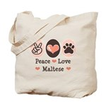 Peace Love Maltese Tote Bag