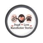 Peace Love Manchester Terrier Wall Clock