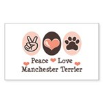 Peace Love Manchester Terrier Sticker (Rectangular