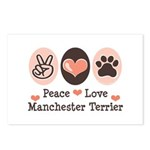 Peace Love Manchester Terrier Postcards (Package o