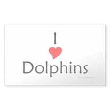 I Love Dolphins Rectangle Decal