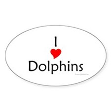I Love Dolphins Oval Decal