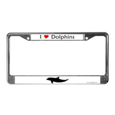 I Love Dolphins License Plate Frame