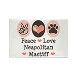 Peace Love Neapolitan Mastiff Rectangle Magnet (10