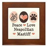 Peace Love Neapolitan Mastiff Framed Tile