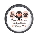 Peace Love Neapolitan Mastiff Wall Clock