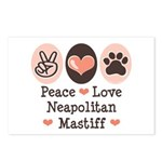 Peace Love Neapolitan Mastiff Postcards (Package o
