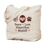 Peace Love Neapolitan Mastiff Tote Bag