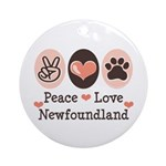 Peace Love Newfoundland Ornament (Round)