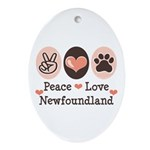 Peace Love Newfoundland Oval Ornament