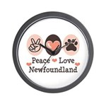 Peace Love Newfoundland Wall Clock