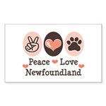 Peace Love Newfoundland Rectangle Sticker