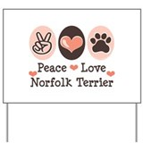Peace Love Norfolk Terrier Yard Sign