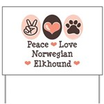 Peace Love Norwegian Elkhound Yard Sign