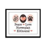 Peace Love Norwegian Elkhound Framed Panel Print