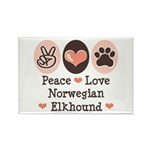Peace Love Norwegian Elkhound Rectangle Magnet (10