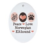Peace Love Norwegian Elkhound Oval Ornament