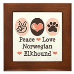 Peace Love Norwegian Elkhound Framed Tile