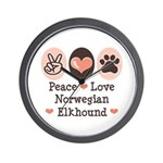 Peace Love Norwegian Elkhound Wall Clock