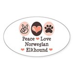 Peace Love Norwegian Elkhound Oval Sticker