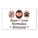 Peace Love Norwegian Elkhound Sticker (Rectangular