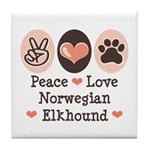 Peace Love Norwegian Elkhound Tile Coaster