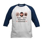 Peace Love Norwegian Elkhound Kids Baseball Jersey