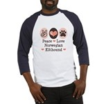 Peace Love Norwegian Elkhound Baseball Jersey