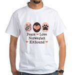 Peace Love Norwegian Elkhound White T-Shirt